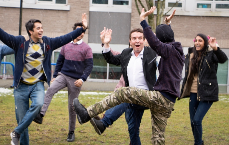 Canadian comedy legend Rick Mercer learns some Bhangra dance moves while on a campaign stop for his charity Spread the Net. EMELIE PEACOCK PHOTO.