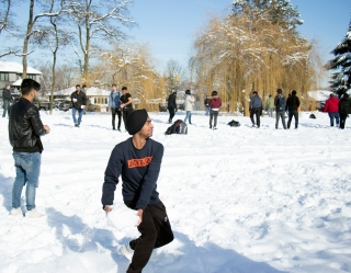 Most snowballs were of conventional size, although some took to more serious measures during Langara College's campus snowball fight. EMELIE PEACOCK PHOTO.