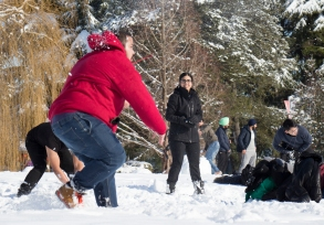 Students at Langara College enjoy the first snowy day on campus with a good old-fashioned snowball fight. EMELIE PEACOCK PHOTO.